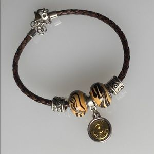 Leather Bracelet with Two Tone 9mm Charm